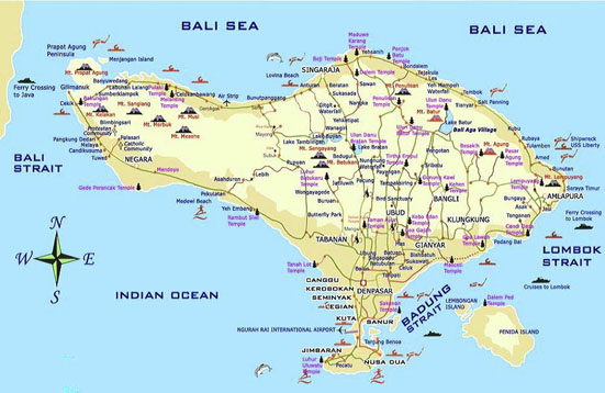 Bali Tour Map | Bali Easy Going Tour